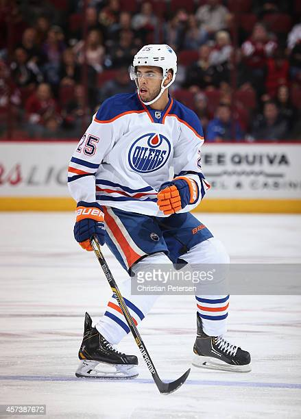 Darnell Nurse of the Edmonton Oilers in action during the NHL game against the Arizona Coyotes at Gila River Arena on October 15 2014 in Glendale...