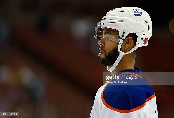 Darnell Nurse of the Edmonton Oilers looks on during a game against the Anaheim Ducks at Honda Center on November 11 2015 in Anaheim California