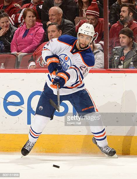 Darnell Nurse of the Edmonton Oilers passes the puck against the Arizona Coyotes at Gila River Arena on January 12 2016 in Glendale Arizona