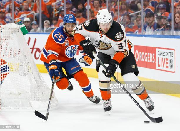 Darnell Nurse of the Edmonton Oilers pursues Nick Ritchie of the Anaheim Ducks in Game Three of the Western Conference Second Round during the 2017...