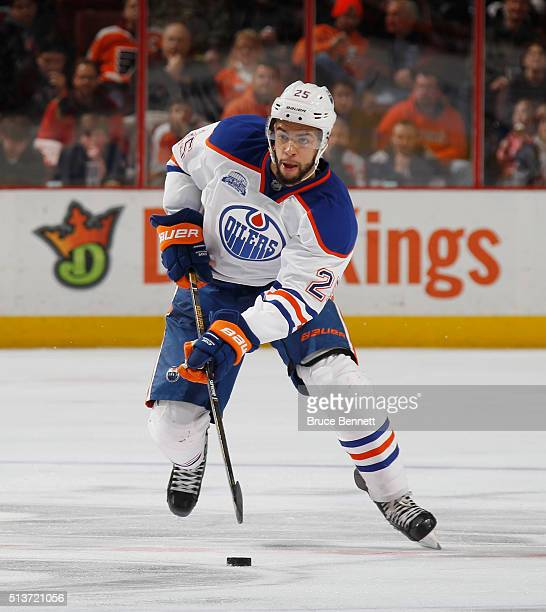 Darnell Nurse of the Edmonton Oilers skates against the Philadelphia Flyers at the Wells Fargo Center on March 3 2016 in Philadelphia Pennsylvania...