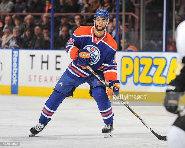 Darnell Nurse of the Edmonton Oilers skates during a game against the Pittsburgh Penguins on November 6 2015 at Rexall Place in Edmonton Alberta...