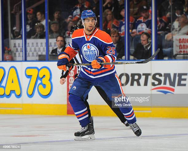 Darnell Nurse of the Edmonton Oilers skates during a game against the Boston Bruins on December 2 2015 at Rexall Place in Edmonton Alberta Canada