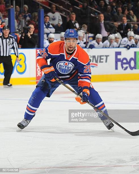 Darnell Nurse of the Edmonton Oilers skates during a game against the Tampa Bay Lightning on January 8 2016 at Rexall Place in Edmonton Alberta Canada