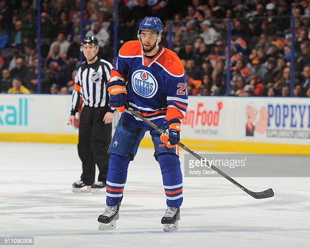 Darnell Nurse of the Edmonton Oilers skates during a game against the Anaheim Ducks on February 16 2016 at Rexall Place in Edmonton Alberta Canada
