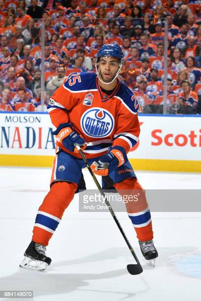 Darnell Nurse of the Edmonton Oilers skates during Game One of the Western Conference First Round during the 2017 NHL Stanley Cup Playoffs against...