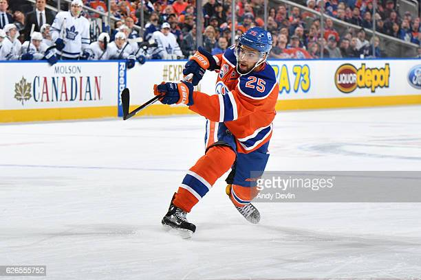 Darnell Nurse of the Edmonton Oilers skates during the game against the Toronto Maple Leafs on November 29 2016 at Rogers Place in Edmonton Alberta...