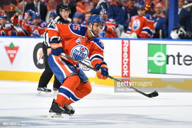 Darnell Nurse of the Edmonton Oilers skates in Game Five of the Western Conference First Round during the 2017 NHL Stanley Cup Playoffs against the...