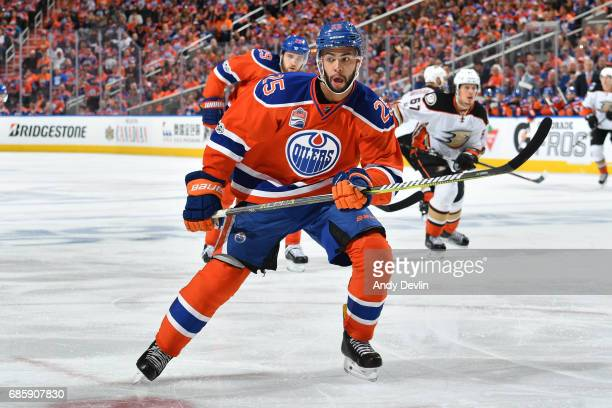 Darnell Nurse of the Edmonton Oilers skates in Game Six of the Western Conference Second Round during the 2017 NHL Stanley Cup Playoffs against the...