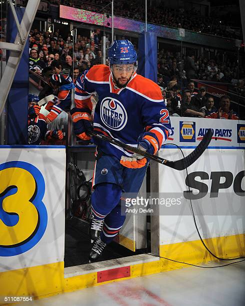 Darnell Nurse of the Edmonton Oilers steps onto the ice prior to a game against the Winnipeg Jets on February 13 2016 at Rexall Place in Edmonton...
