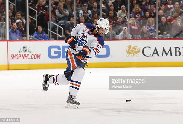 Darnell Nurse of the Edmonton Oilers takes a shot against the Colorado Avalanche at the Pepsi Center on November 23 2016 in Denver Colorado