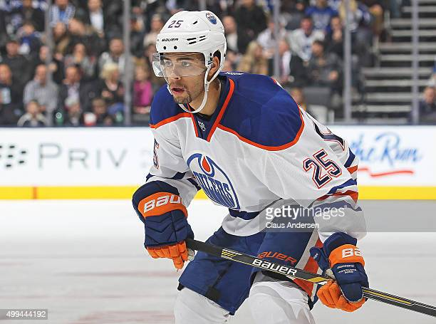 Darnell Nurse of the Edmonton Oilers waits for a faceoff against the Toronto Maple Leafs during an NHL game at Air Canada Centre on November 30 2015...