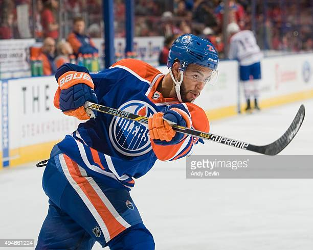 Darnell Nurse of the Edmonton Oilers warms up prior to a game against the Montreal Canadiens on October 29 2015 at Rexall Place in Edmonton Alberta...