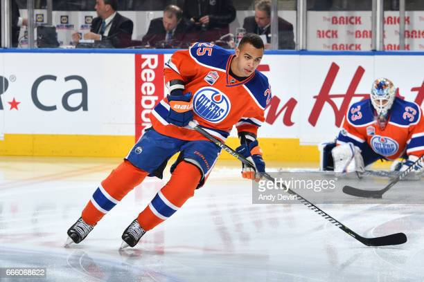 Darnell Nurse of the Edmonton Oilers warms up prior to the game against the Anaheim Ducks on April 1 2017 at Rogers Place in Edmonton Alberta Canada