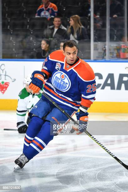 Darnell Nurse of the Edmonton Oilers warms up prior to the game against the Dallas Stars on March 14 2017 at Rogers Place in Edmonton Alberta Canada