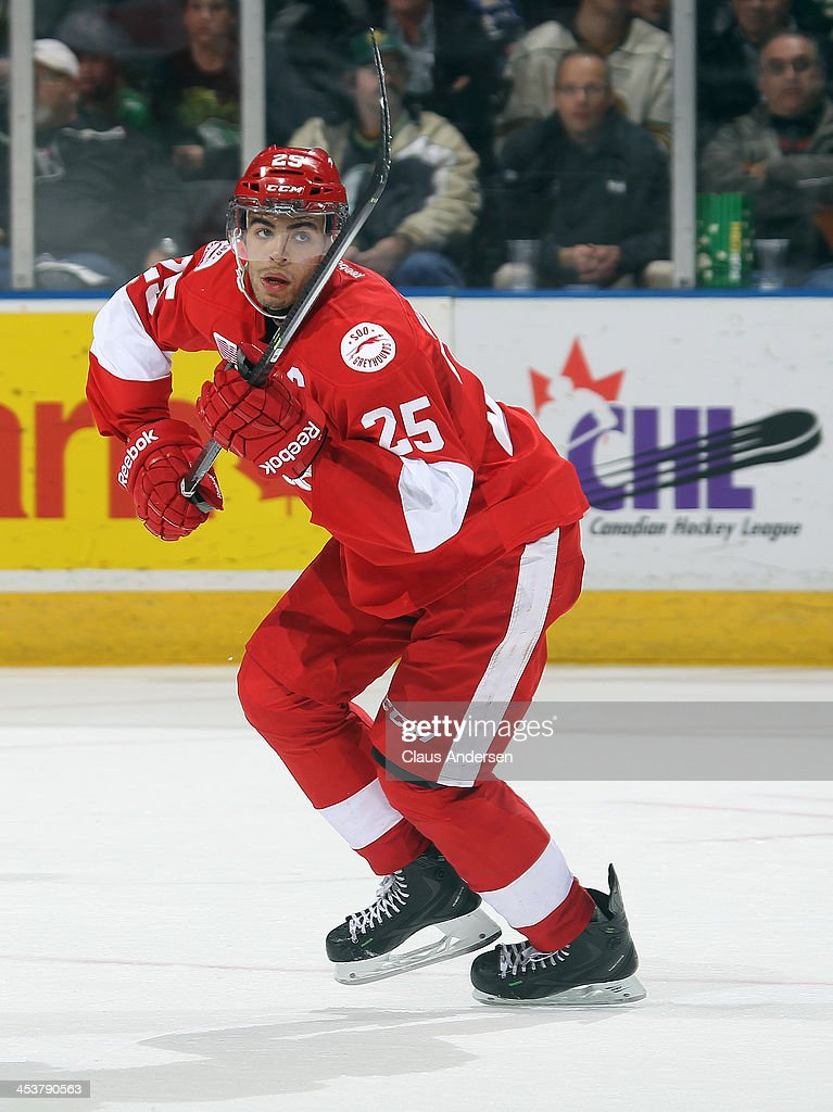 Darnell Nurse #25 of the Sault Ste. Marie Greyhounds skates against the London Knights during an OHL game at the Budweiser Gardens on December 4, 2013 in London, Ontario, Canada. The Knights defeated the Greyhounds 3-2.