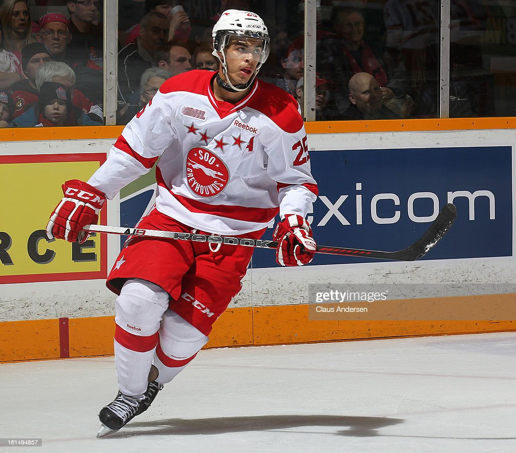 Darnell Nurse #25 of the Sault Ste. Marie Greyhounds skates in an OHL game against the Peterborough Petes on February 9, 2013 at the Peterborough Memorial Centre in Peterborough, Ontario, Canada. The Petes defeated the Greyhounds 3-2.