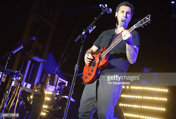 Daron Malakian and Serj Tankian of System of a Down perform during Riot Fest at the National Western Complex on August 28 2015 in Denver Colorado