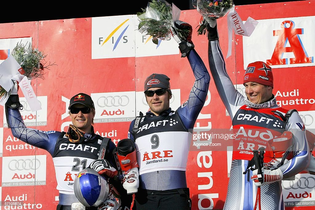 Daron Rahlves, Bode Miller, Aksel Lund Svindal pose on the podium after the FIS Skiing World Cup Super-G on March 16, 2006 in Aare, Sweden