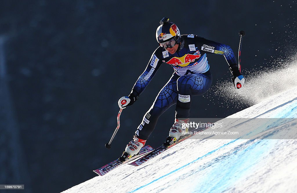 Daron Ralves of the USA competes during the Audi FIS Alpine Ski World Cup Men's Downhill Training on January 24, 2013 in Kitzbuehel, Austria.
