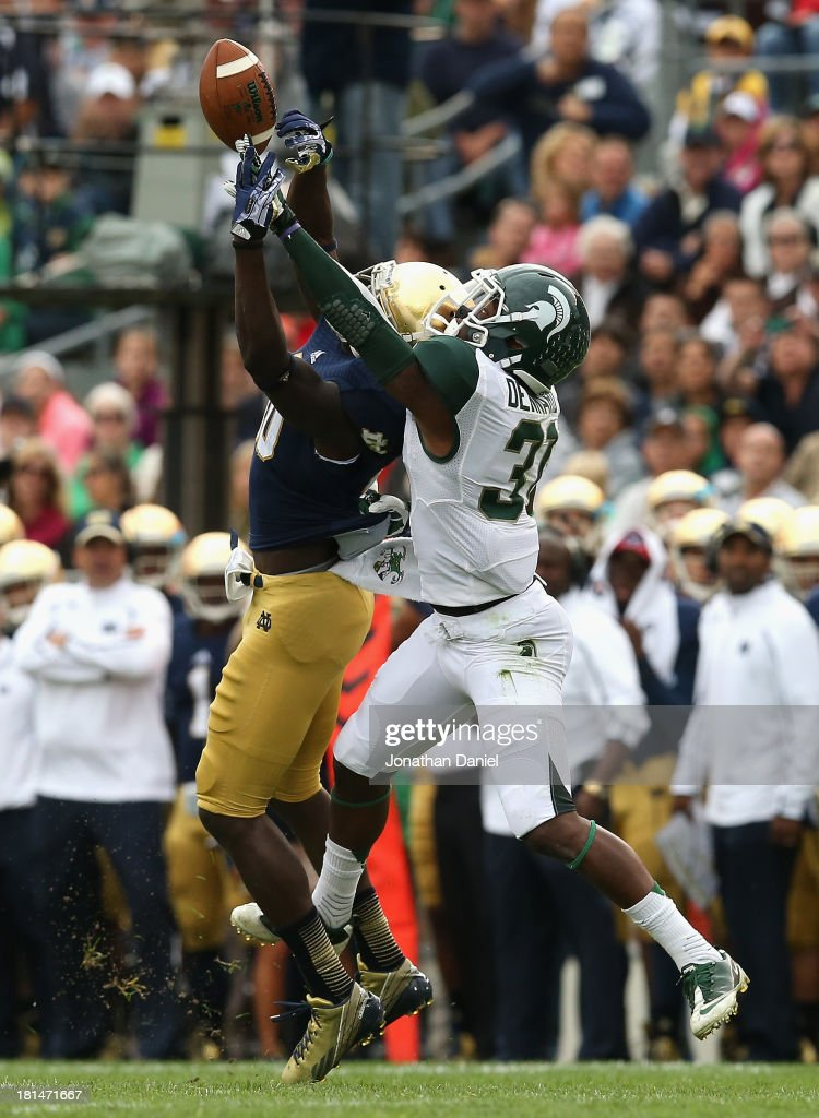 Darqueze Dennard #31 of the Michigan State Spartans breaks up a pass intended for DeVarius Daniels #10 of the Notre Dame Fighting Irish at Notre Dame Stadium on September 21, 2013 in South Bend, Indiana.