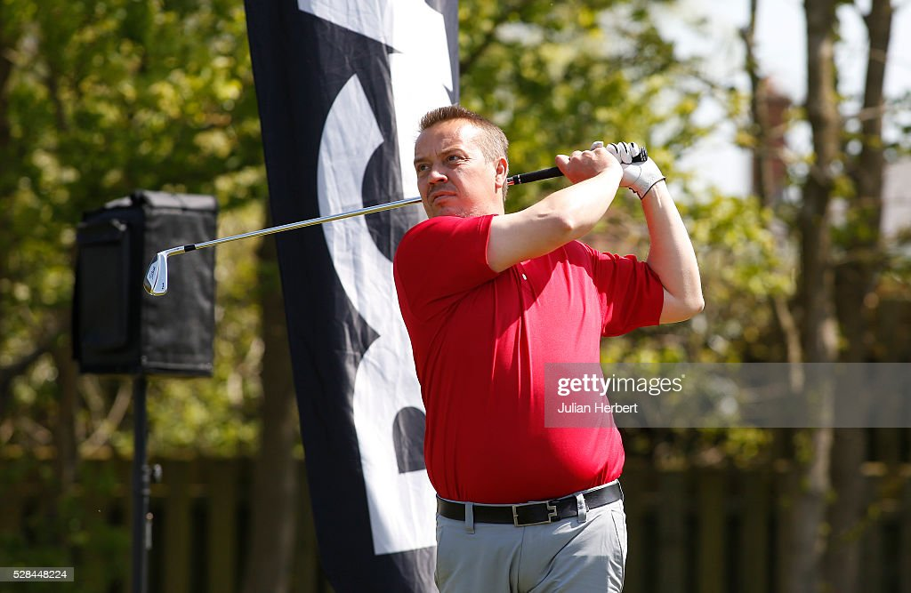 Darran Clark of Aberdare Golf Club plays his first shot on the 1st tee during the PGA Professional Championship - West Qualifier at Burnham And Berrow Golf Club Club on May 5, 2016, in Burnham-On-Sea, England.