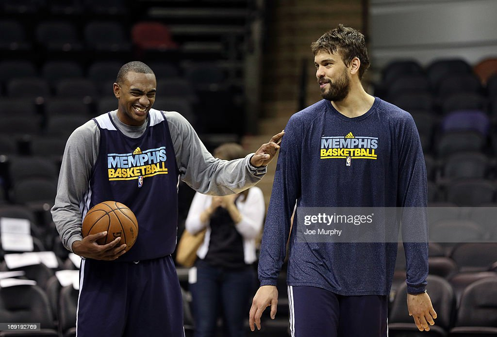 Darrell Arthur #00 and Marc Gasol #33 of the Memphis Grizzlies share a laugh at team practice during the Western Conference Finals during the 2013 NBA Playoffs on May 20, 2013 at the AT&T Center in San Antonio, Texas.