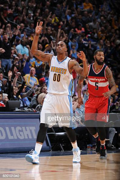 Darrell Arthur of the Denver Nuggets celebrates a three point shoot during the game against the Washington Wizards on March 12 2016 at the Pepsi...