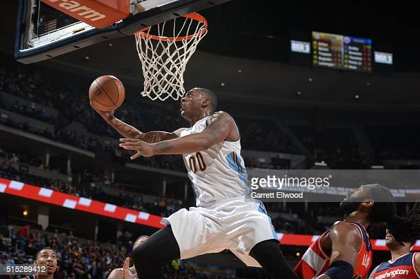 Darrell Arthur of the Denver Nuggets goes to the basket against the Washington Wizards on March 12 2016 at the Pepsi Center in Denver Colorado NOTE...