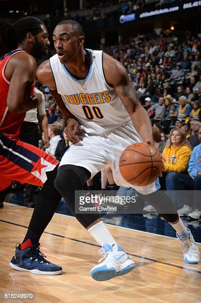 Darrell Arthur of the Denver Nuggets handles the ball against the Washington Wizards on March 12 2016 at the Pepsi Center in Denver Colorado NOTE TO...