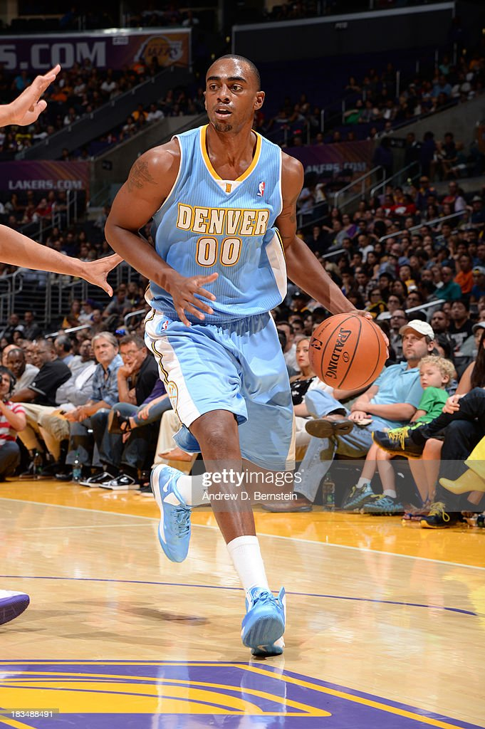 <a gi-track='captionPersonalityLinkClicked' href=/galleries/search?phrase=Darrell+Arthur&family=editorial&specificpeople=4102032 ng-click='$event.stopPropagation()'>Darrell Arthur</a> #00 of the Denver Nuggets handles the ball during a game against the Los Angeles Lakers at STAPLES Center on October 10, 2013 at in Los Angeles, California.