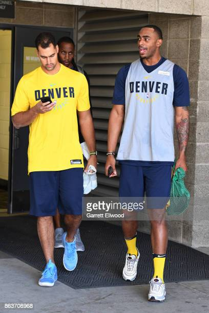 Darrell Arthur of the Denver Nuggets leaves practice prior to the game against the Utah Jazz on October 18 2017 at the Vivint Smart Home Arena in...