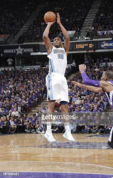 Darrell Arthur of the Denver Nuggets shoots against the Sacramento Kings on October 30 2013 at Sleep Train Arena in Sacramento California NOTE TO...