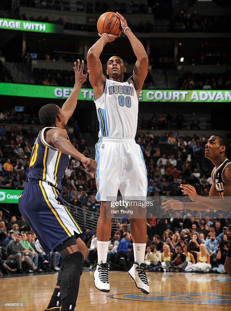 <a gi-track='captionPersonalityLinkClicked' href=/galleries/search?phrase=Darrell+Arthur&family=editorial&specificpeople=4102032 ng-click='$event.stopPropagation()'>Darrell Arthur</a> #00 of the Denver Nuggets shoots the ball against the Utah Jazz on December 13, 2013 at the Pepsi Center in Denver, Colorado.