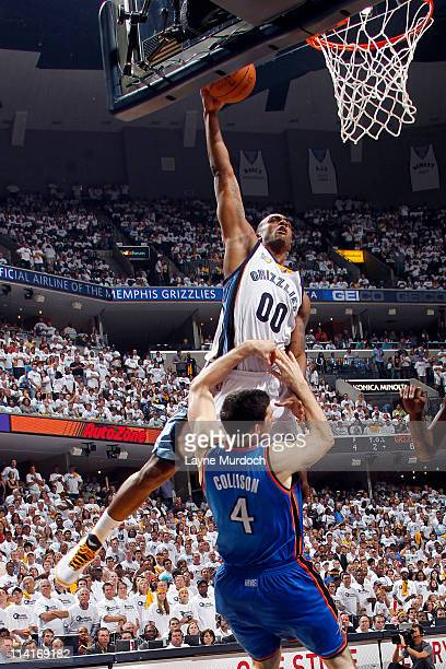 Darrell Arthur of the Memphis Grizzlies dunks against Nick Collison of the Oklahoma City Thunder during Game Six of the Western Conference Semifinals...