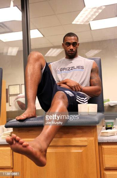 Darrell Arthur of the Memphis Grizzlies waits to have his ankles taped before a team practice during the 2011 NBA Playoffs on May 6 2011 at...