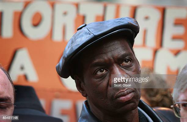 Darrell Canon who claims to have been tortured by Chicago Police in 1983 listens to speakers during a rally outside the federal courthouse where...