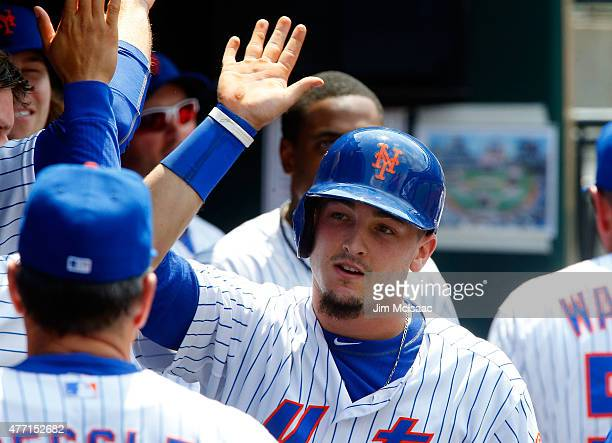 Darrell Ceciliani of the New York Mets celebrates his fourth inning home run against the Atlanta Braves at Citi Field on June 14 2015 in the Flushing...