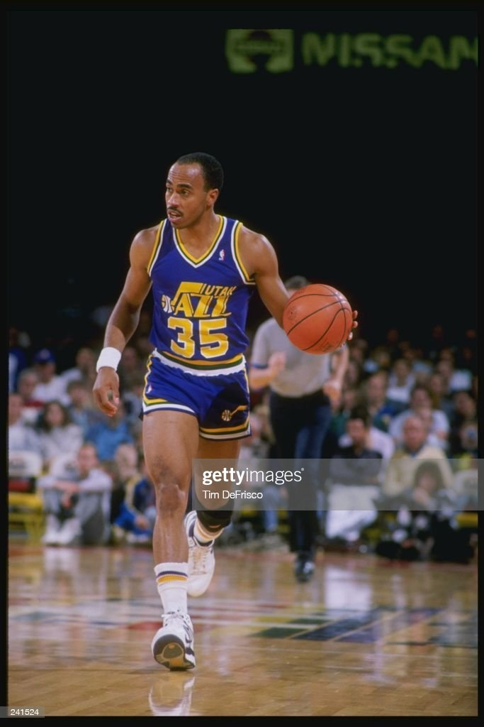 Darrell Griffith of the Utah Jazz in action with the ball during a game against the Denver Nuggets at McNichols Arena in Denver Colorado Mandatory...