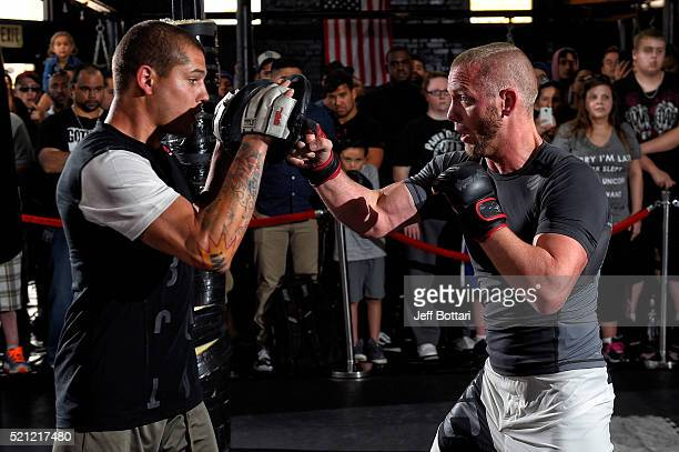 Darrell Horcher holds an open workout for fans and media at Tigers World Gym on April 14 2016 in Tampa Florida