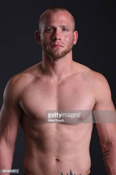 Darrell Horcher poses for a portrait backstage after his victory over Devin Powell during the UFC Fight Night event at the Chesapeake Energy Arena on...