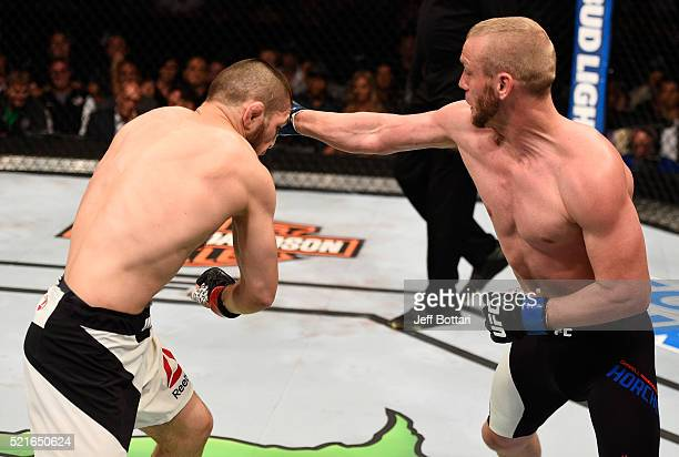 Darrell Horcher punches Khabib Nurmagomedov in their lightweight bout during the UFC Fight Night event at Amalie Arena on April 16 2016 in Tampa...