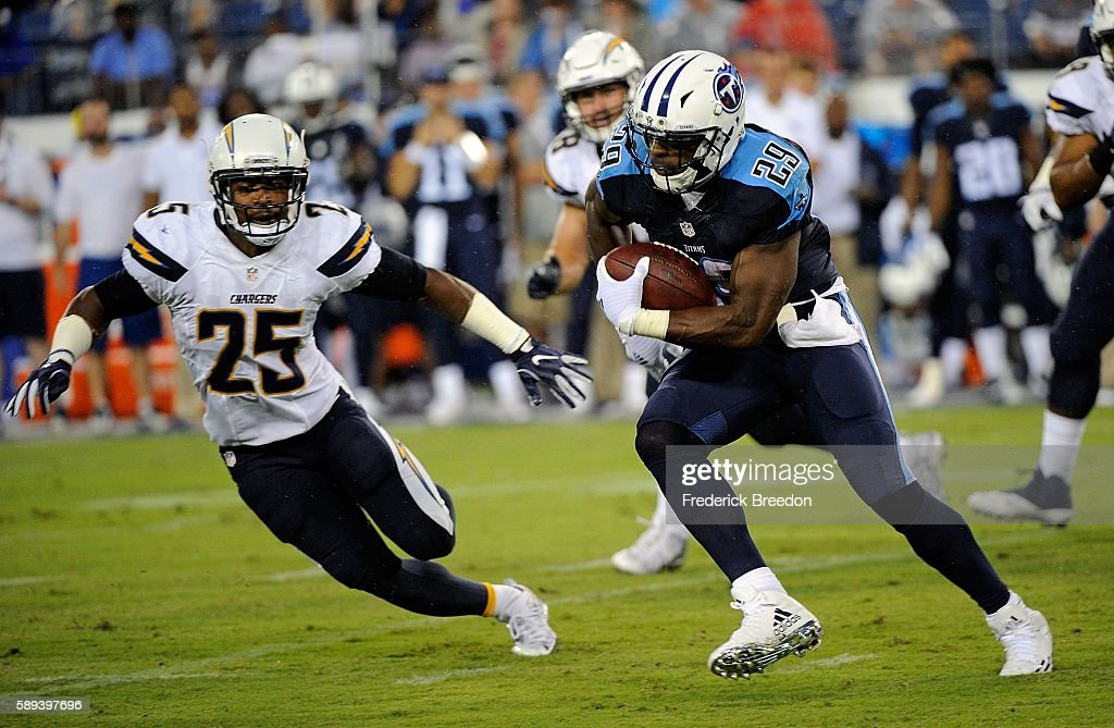 Darrell Stuckey of the San Diego Chargers pursues DeMarco Murray of the Tennessee Titans during the first half at Nissan Stadium on August 13 2016 in...