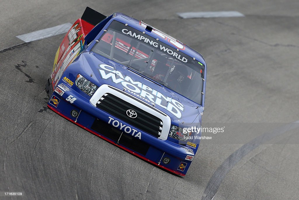 Darrell Wallace Jr., driver of the #54 Camping World/Good Sam Toyota, practices for the NASCAR Camping World Truck Series UNOH 225 at Kentucky Speedway on June 27, 2013 in Sparta, Kentucky.