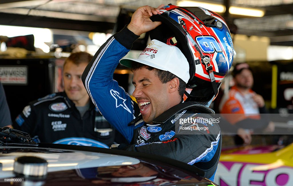 Darrell Wallace, Jr., driver of the #6 Ford EcoBoost Ford, stands in the garage area during practice for the NASCAR XFINITY Series VFW Sport Clips Help A Hero 200 at Darlington Raceway on September 3, 2016 in Darlington, South Carolina.