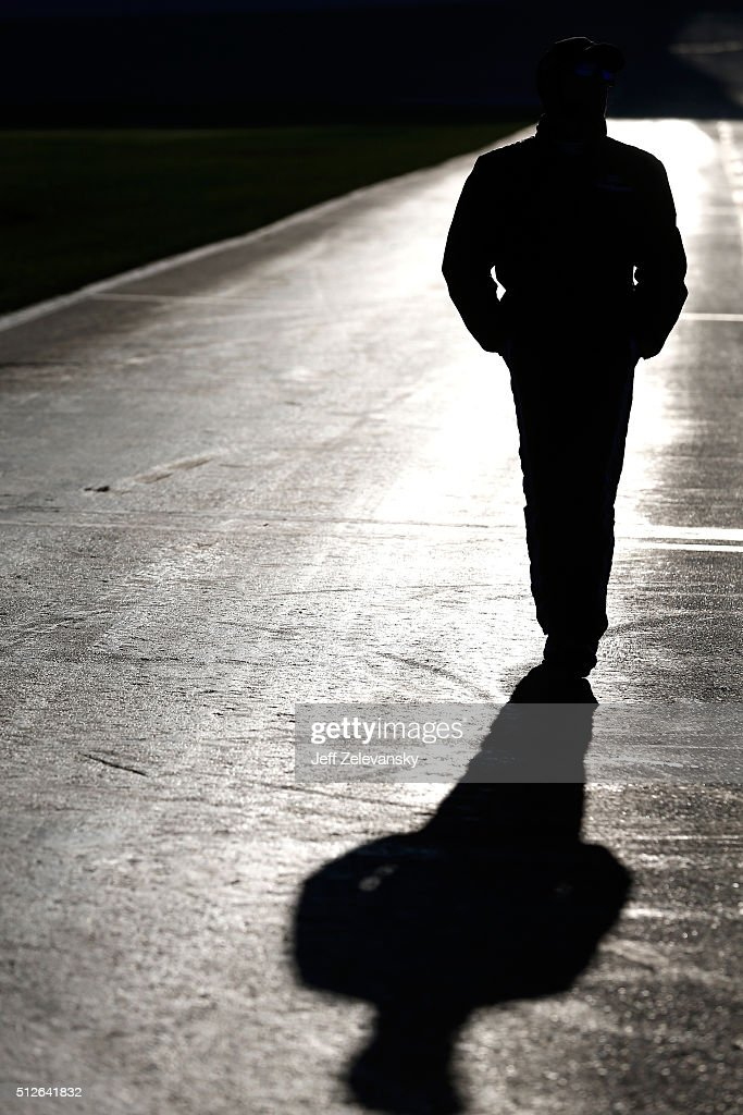 Darrell Wallace Jr, driver of the #6 Ford EcoBoost Ford, walks on the grid during qualifying for the NASCAR XFINITY Series Heads Up Georgia 250 at Atlanta Motor Speedway on February 27, 2016 in Hampton, Georgia.