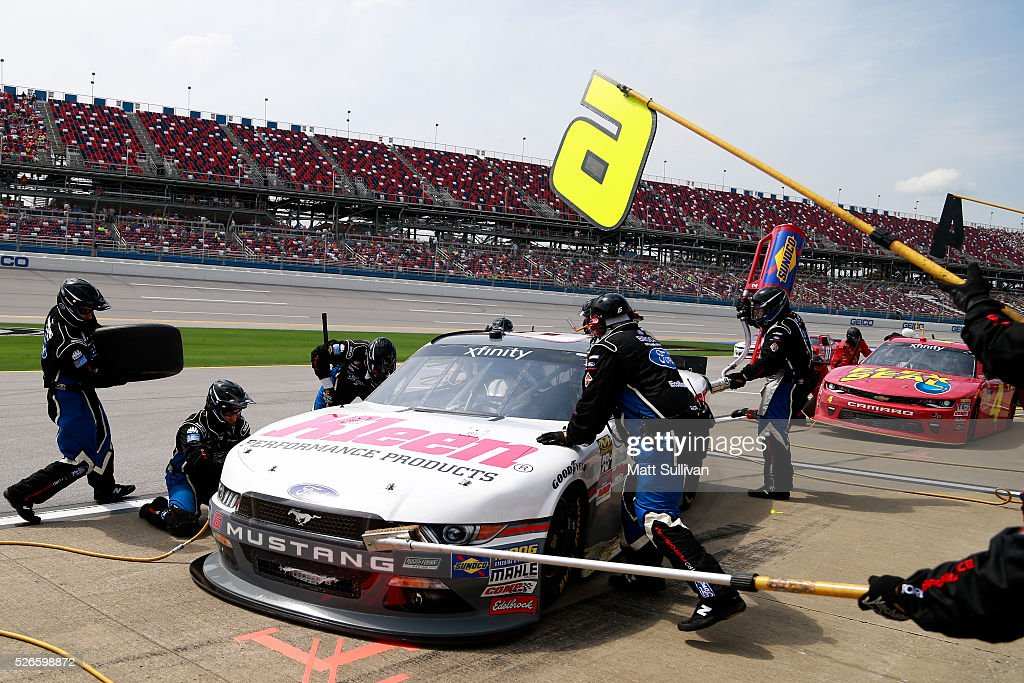 Darrell Wallace Jr, driver of the #6 Kleen Perfomance Ford, pits during the NASCAR XFINITY Series Sparks Energy 300 at Talladega Superspeedway on April 30, 2016 in Talladega, Alabama.