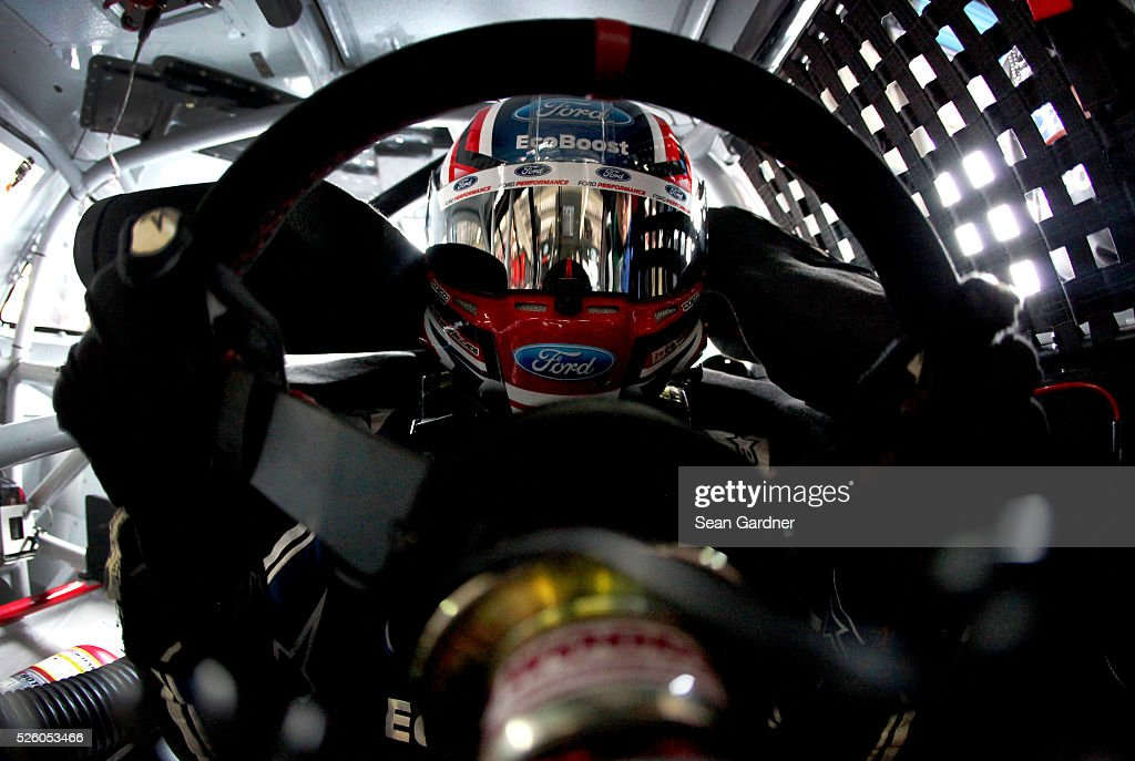 Darrell Wallace Jr, driver of the #6 Kleen Perfomance Ford, sits in his car during practice for the NASCAR XFINITY Series Sparks Energy 300 at Talladega Superspeedway on April 29, 2016 in Talladega, Alabama.