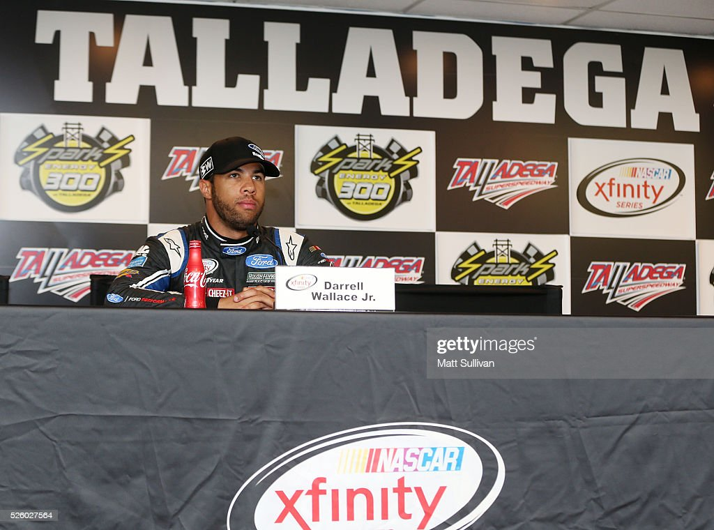 Darrell Wallace Jr, driver of the #6 Kleen Perfomance Ford, speaks to the media during a press conference prior to practice for the NASCAR XFINITY Series Sparks Energy 300 at Talladega Superspeedway on April 29, 2016 in Talladega, Alabama.