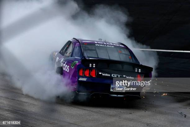 Darrell Wallace Jr driver of the Leidos Ford spins during the NASCAR XFINITY Series Fitzgerald Glider Kits 300 at Bristol Motor Speedway on April 22...